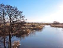 Schöner Fluss und Anlagen im Winter, Litauen Lizenzfreies Stockfoto