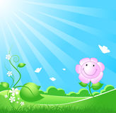 Schöner Frühlingsnaturhintergrund mit Sunbeam stock abbildung