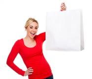 Schöner Frauen-Holding-Beutel mit Exemplar-Platz Lizenzfreies Stockfoto