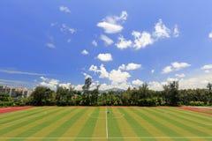 Schöner Fußballplatz von Xiamen-Universität u. von x28; luftgetrockneter Ziegelstein rgb u. x29; Lizenzfreie Stockfotos