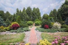 Schöner Garten mit blühenden Büschen stockbild