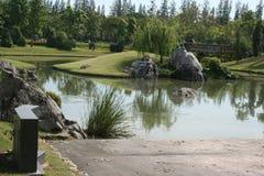 Schöner Gartenpark mit dem Teich über blauem Himmel stockbilder