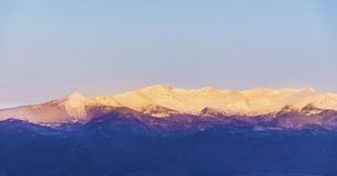Schöner Gebirgsschneebedeckte Spitze im Rhodope-Berg Sonnenaufgangtrieb lizenzfreies stockfoto