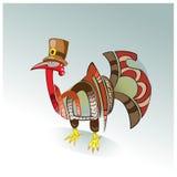 Schöner glücklicher Danksagungs-Tageshintergrund mit netter glücklicher Karikatur des Truthahnvogels Stockfoto