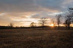 Schöner goldener Sonnenuntergang auf einer Ranch in Oklahoma-Himmel gefüllt mit Wolken lizenzfreie stockfotos