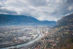 Schöner Grenoble-Fluss von der Bastille, Frankreich Stockbild