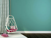 Schöner hängender Stuhl mit rosa Dekor Stockbilder
