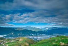 Schöner Hügel abgedeckt mit Frühlingsfarben Lizenzfreie Stockfotos