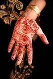 Schöner Hennastrauch, Mehendi auf der Brauthand stockfotografie