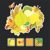 Schöner Herbstaufbau und -ikonen stock abbildung