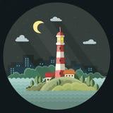 Schöner Hintergrund mit dem Bild der Tabelle Der Leuchtturm auf dem Hintergrund der Stadt f Stockfoto