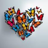 Schöner Hintergrund mit dem Herzen des Valentinsgrußes von Schmetterlingen Stockbild