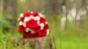 Schöner Hochzeitsblumenstrauß mit roten Rosen und Ringen stock video footage