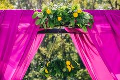 Schöner Hochzeitstorbogen Bogen verziert mit purpurrotem Stoff und Zitrone lizenzfreie stockfotos