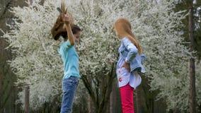 Schöner Jahreszeitfrühling, nette lächelnde Freundin zwei, die blühenden Garten der Frisur macht Schönheits-Haarpflege stock video