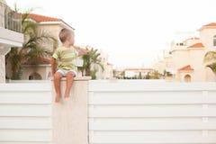 Schöner Junge auf der Hecke stockbild