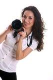 Schöner junger asiatischer Frauenphotograph Lizenzfreies Stockbild