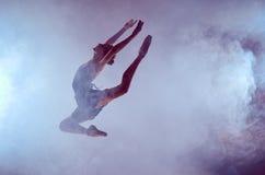 Schöner junger Balletttänzer, der auf eine Flieder springt Lizenzfreies Stockbild