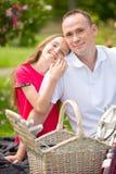 Schöner junger Vater, der auf einem Plaid in einem grünen Park mit ihrer kleinen hübschen Tochter mit einem Weidenkorb für glückl Stockfotografie