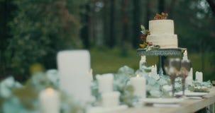 Schöner köstlicher Zweistufenkuchen mit den roten Beeren bei Tisch verziert mit Kerzen, leves und Blumen Romantisches Abendessen stock footage