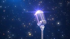 Schöner Karaoke-Hintergrund mit einem altmodischen Mikrofon und magische Partikel, 3d übertragen stockfotos