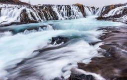 Schöner Kaskade bruarfoss Wasserfall in Island Lizenzfreie Stockfotografie