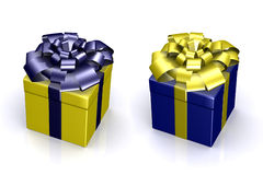 Schöner Kasten mit einem Geschenk mit einem Bogen Stockfoto