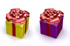 Schöner Kasten mit einem Geschenk mit einem Bogen Stockfotos