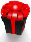 Schöner Kasten mit einem Geschenk mit einem Bogen Stockbild