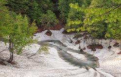 Schöner kleiner acht-förmiger Gebirgssee am Frühling Stockbild