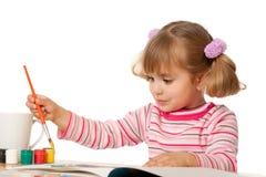 Schöner kleines Mädchen-Anstrich Stockbilder