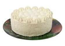 Schöner Kuchen auf der Platte lokalisiert Stockbilder