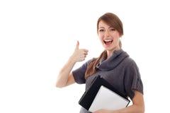 Schöner Kursteilnehmer mit dem Laptop getrennt Lizenzfreie Stockfotos