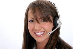 Schöner lächelnder Kundendienst-Repräsentant Stockfoto