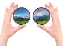 Schöner Landschaftsthrow-Kamerafilter getrennt Stockbilder