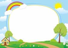 Schöner Landschaftsvektor-Rahmen-Hintergrund mit, Regenbogen, grüne Wiese, Wolken, Baum und Haus vektor abbildung