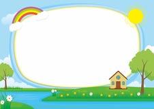 Schöner Landschaftsvektor-Rahmen-Hintergrund mit, See, Fluss, grüne Wiese, Wolken, Baum und Haus vektor abbildung