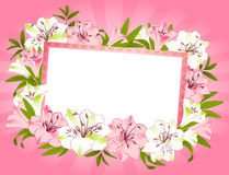 Schöner Lilienblumenstrauß mit Fahne stock abbildung