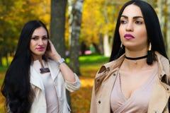 Schöner luxuriöser Brunette mit Freundin im Park stockfoto