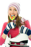 Schöner Mädchen goind Eis-Eislauf Lizenzfreies Stockbild