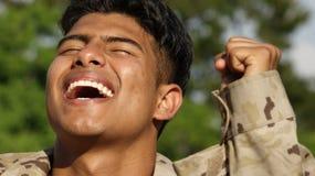 Schöner männlicher Soldat Winner Lizenzfreie Stockfotografie