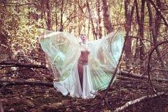 Schöner Magier in der mysteriöser dunkler Waldmagischen Atmosphäre fairytale stockbild
