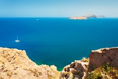 Schöner Meerblick auf Santorini-Insel, Griechenland lizenzfreie stockfotografie