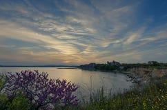Schöner Meerblick Ausgezeichneter Frühlingssonnenuntergang auf einem Gebiet von Blumen Juni 2012 Schwarzes Meer Stockbild