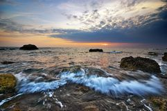 Schöner Meerblicksonnenuntergang Lizenzfreies Stockfoto