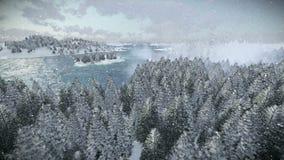 Schöner Morgen über Forest Hills und Meer, schneiend stock abbildung