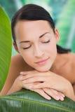 Schöner nackter Brunette, der mit grünen Blättern aufwirft Lizenzfreie Stockfotos