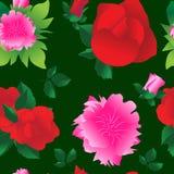 Schöner nahtloser Hintergrund mit großen Blumenrosen und -pfingstrosen vektor abbildung