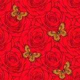Schöner nahtloser Hintergrund mit Schmetterlingen und Rosen Stockbild