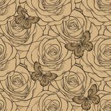 Schöner nahtloser Hintergrund mit Schmetterlings- und Rosenweinlesefarbe Von Hand gezeichnete Tiefenlinien und Anschläge Lizenzfreie Stockbilder